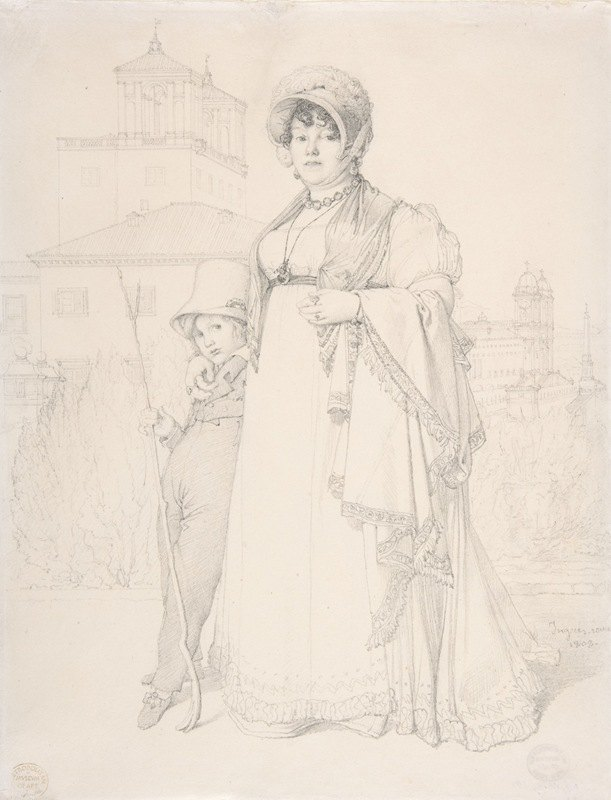 Jean Auguste Dominique Ingres - Madame Guillaume Guillon Lethière, née Marie-Joseph-Honorée Vanzenne, and her son Lucien Lethière