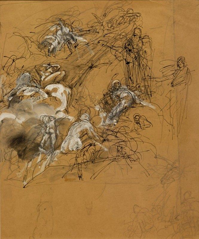 Luc-Olivier Merson - Étude de figures volantes