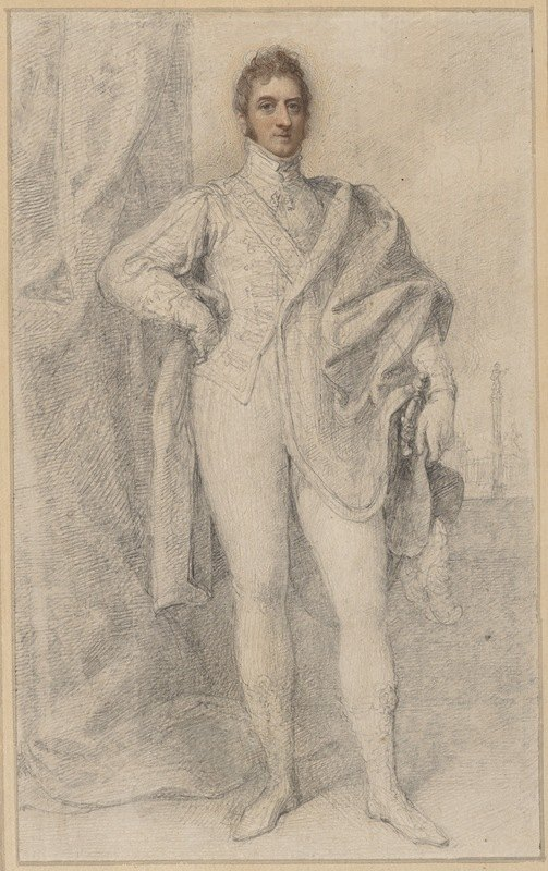 Richard Cosway - Portrait of George, 5th Duke of Marlborough, with Blenheim in the Distance
