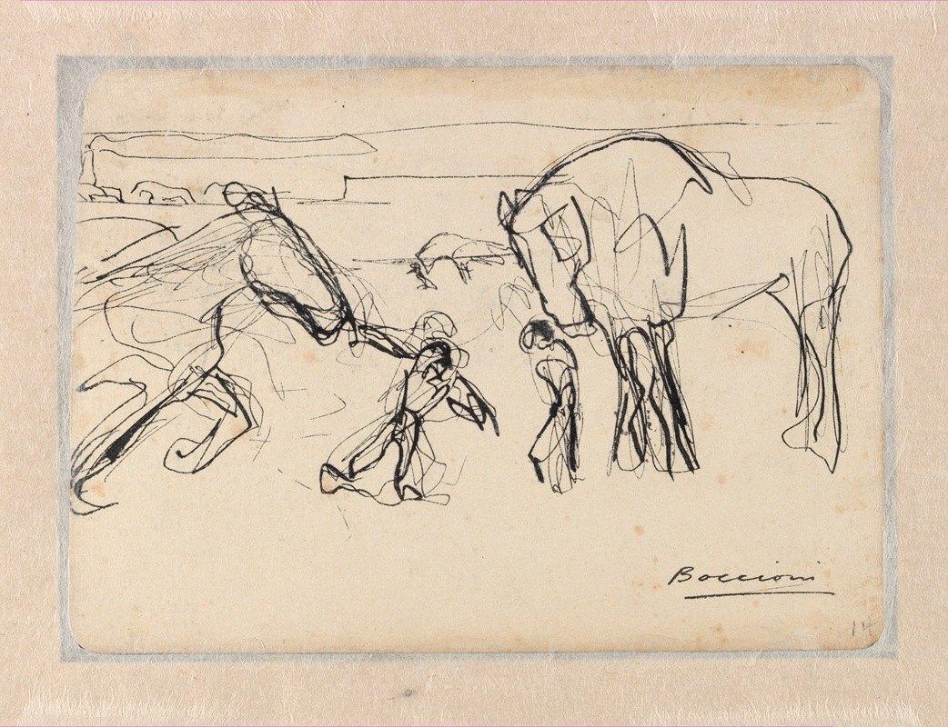 Umberto Boccioni - Horses and Figures in a Landscape