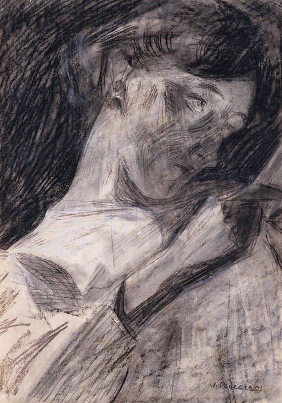 Umberto Boccioni - Young Woman Reading (Ines)