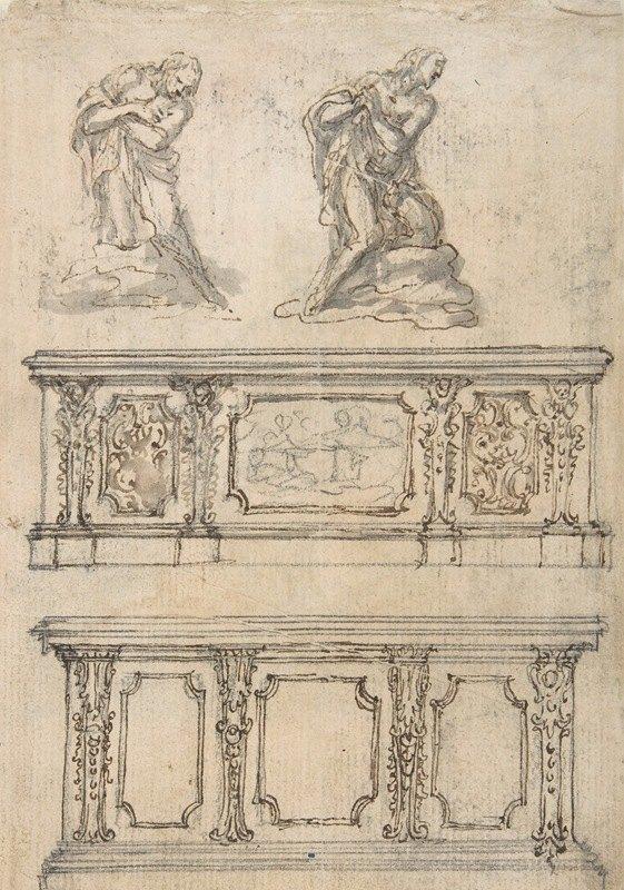 Giovanni Battista Foggini - Studies for a Kneeling Figure of Christ and Altar Fronts