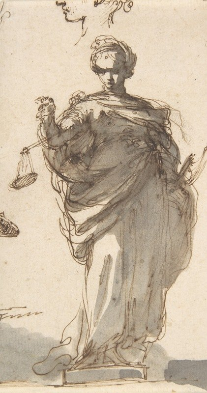 Giuseppe Bernardino Bison - Design for a Statue of Justice with Sketches at Left and Above