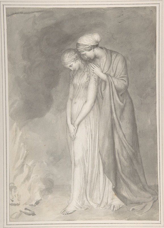 John Flaxman - Study of Two Women Grieving