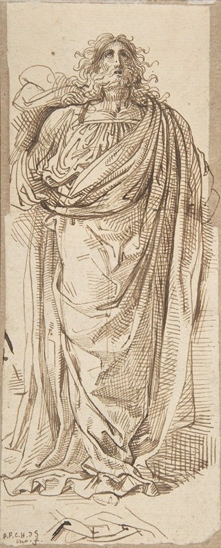 David-Pierre Giottino Humbert de Superville - A Draped Bearded Man Looking Up