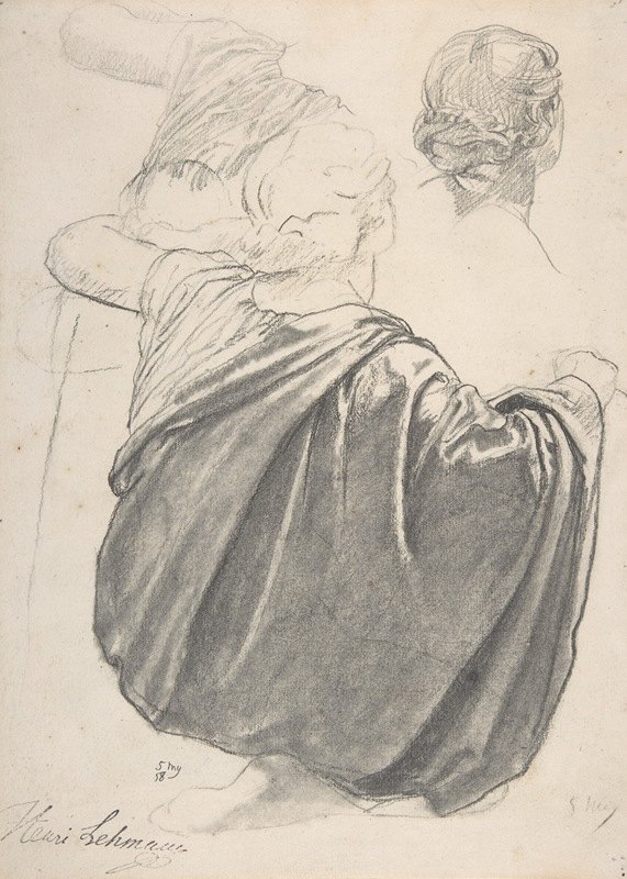 Henri Lehmann - Studies of a Draped Female Figure, Kneeling, Seen from the Back, for the East Transept of the Chruch of Sainte-Clothilde, Paris