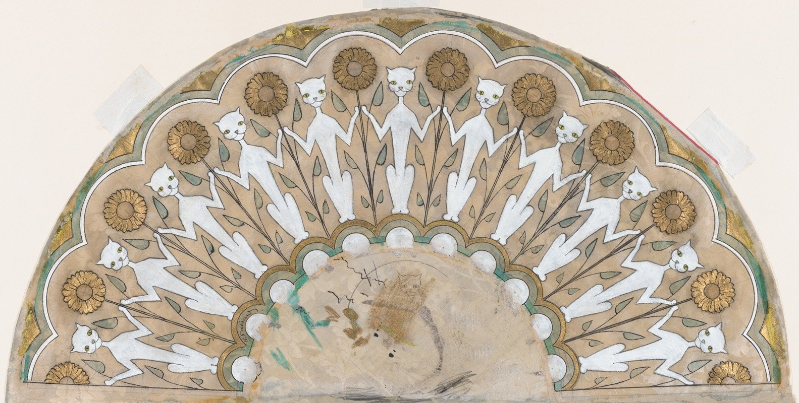 Henri-Charles Guérard - Fan Design with Cats and Sunflowers