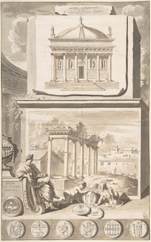 Jan Goeree - A Reconstruction of the Aedes Concordiae (above) and a View of the Ruins (below)