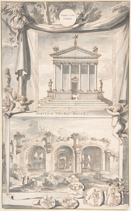 Jan Goeree - A Reconstruction of the Templum Pacis (above) and a View of the Ruins (below)