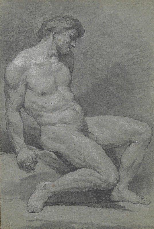 Nicolas Bernard Lépicié - Seated Male Nude Facing Right