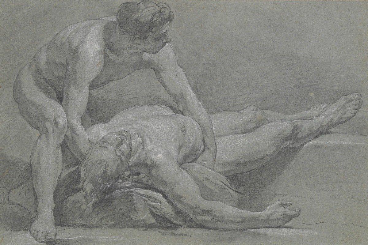 Nicolas Bernard Lépicié - Two Nude Male Figures