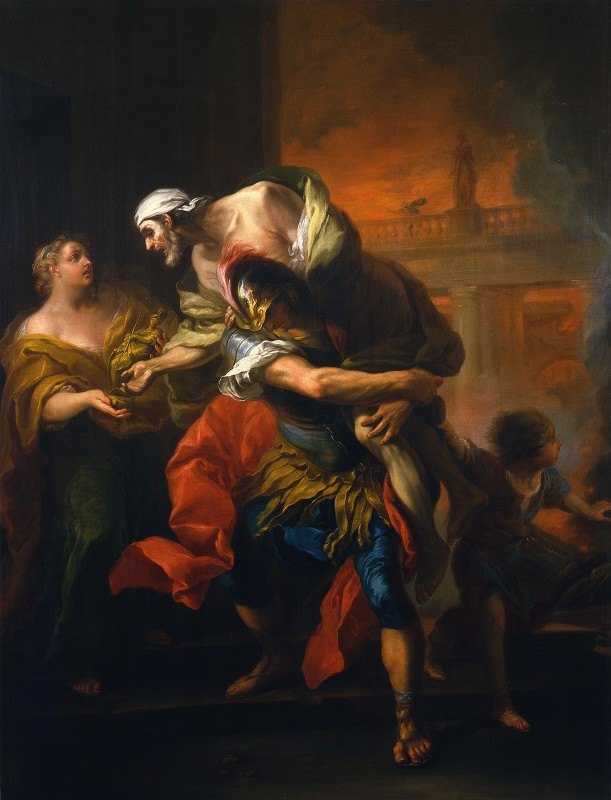 Charles-André van Loo - Aeneas Rescuing his Father from the Fire at Troy