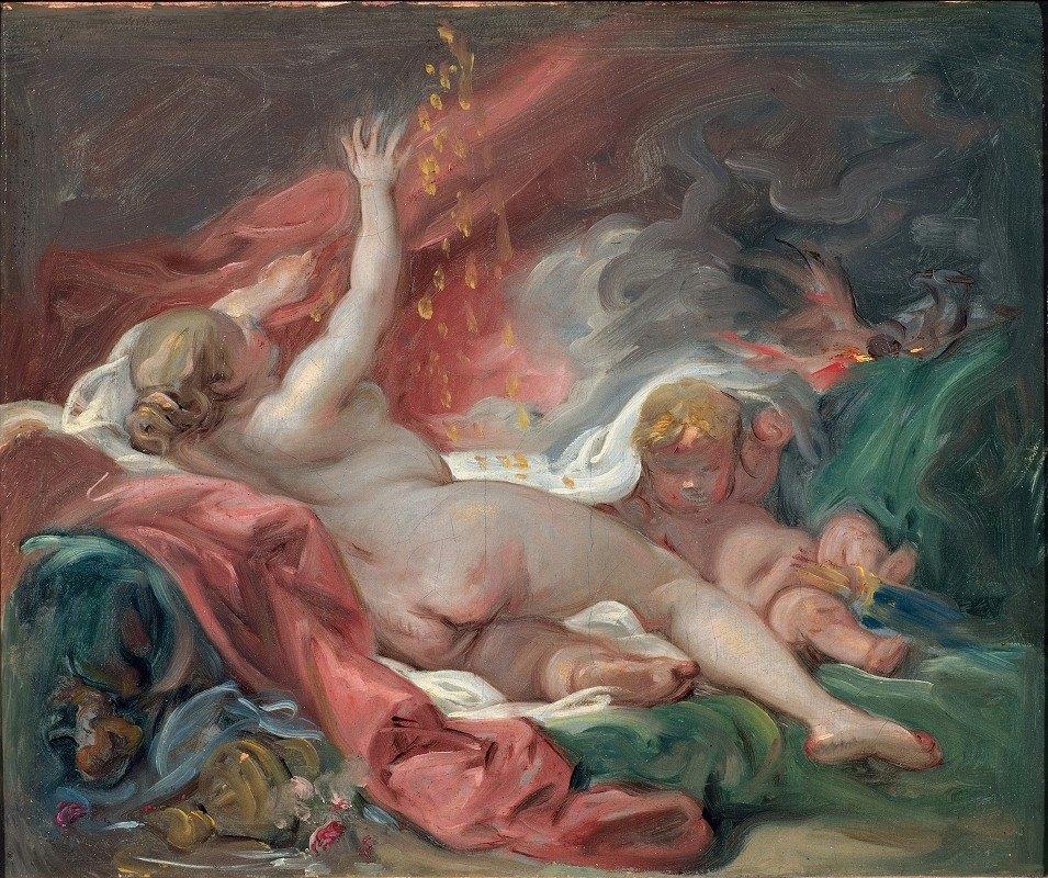 François Boucher - Danaë and the Shower of Gold. Study