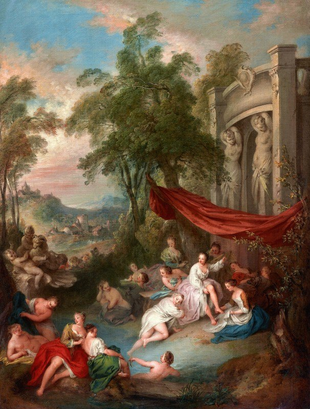 Jean-Baptiste Pater - Female Bathers Near a Fountain (Nymphs Bathing in a Pool)
