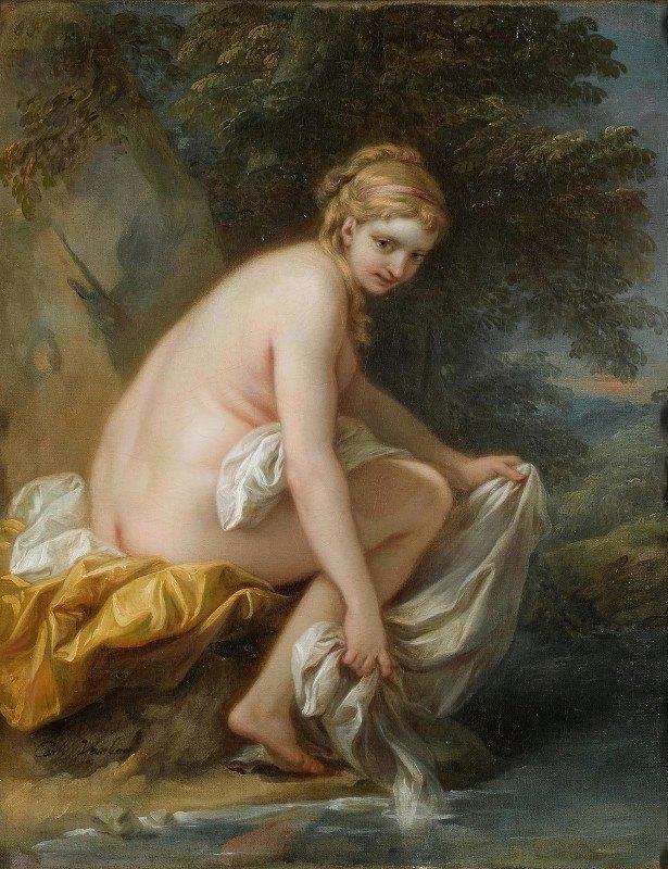 Charles-André van Loo - A Nymph At Her Bath