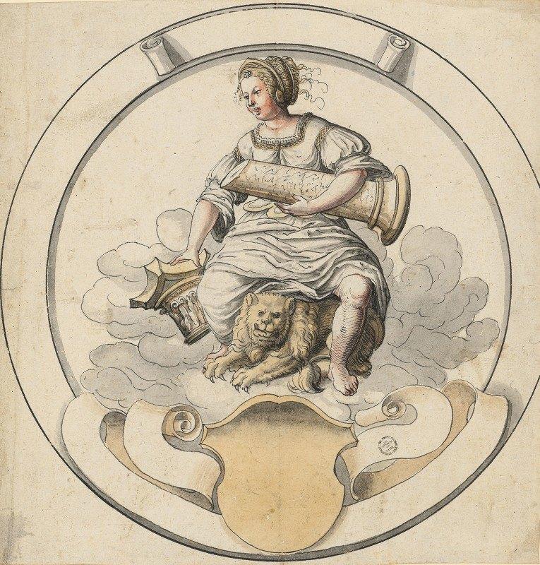 Abraham Bickhart - Scheibenriss im Rund mit Fortitudo, unten leeres Wappen