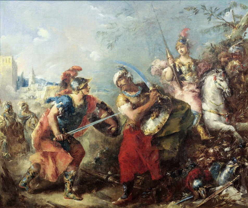 Giovanni Antonio Guardi - The Fight between Tancred and Argante With Clorinda in the Background
