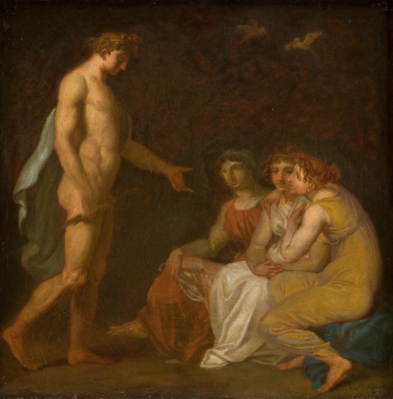 Nicolai Abraham Abildgaard - Apollo charging the Parcae to visit Ceres, who has fled from the Earth