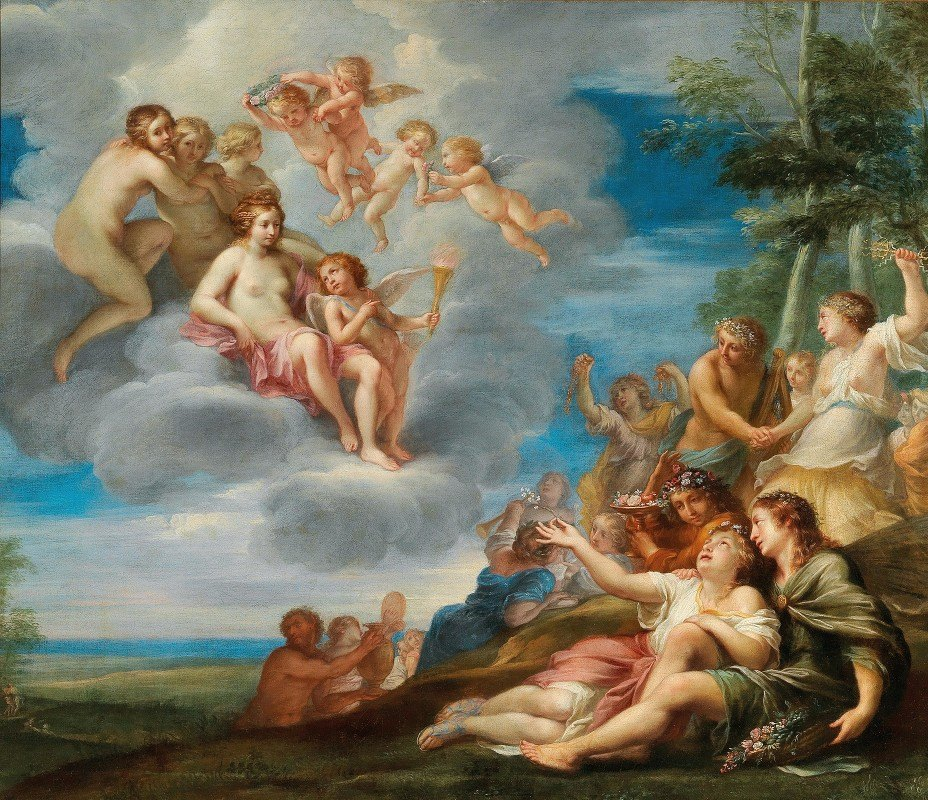 Louis Cousin - Venus and Apollo with the Muses