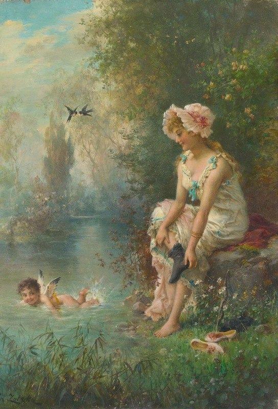 Hans Zatzka - Love By The River's Edge