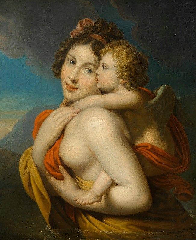Johann Baptist Lampi the Elder - Nymphe trägt Amor durch einen Fluss
