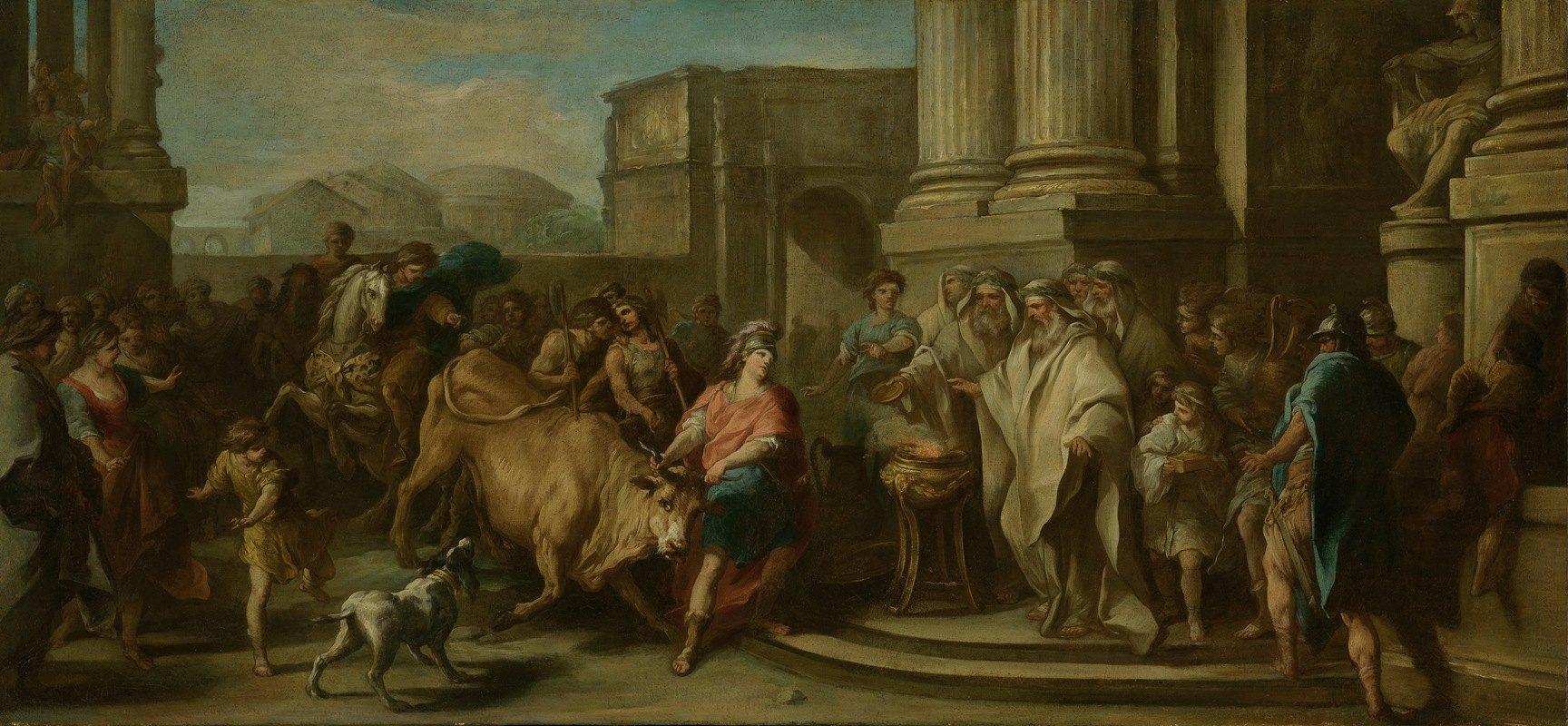 Charles-André van Loo - Theseus Taming the Bull of Marathon