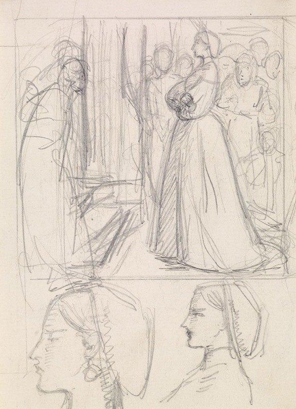 Sir John Everett Millais - Christina Rossetti's Maude Clare – Figure and Head Studies