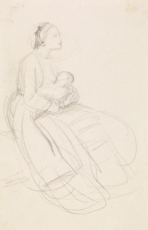 Sir John Everett Millais - Female – Sketch of Mother breastfeeding her Baby