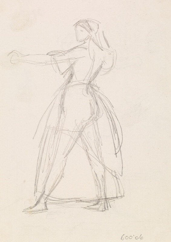 Sir John Everett Millais - Female – Study of a Woman in a threatening Attitude, Arm raised