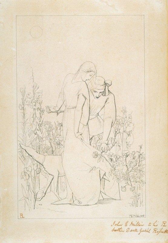 Sir John Everett Millais - Lovers by a Rosebush