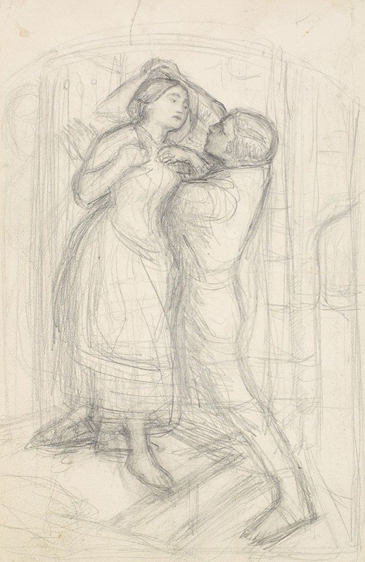 Sir John Everett Millais - The Escape of a Heretic – Sketch of the Girl and her Lover