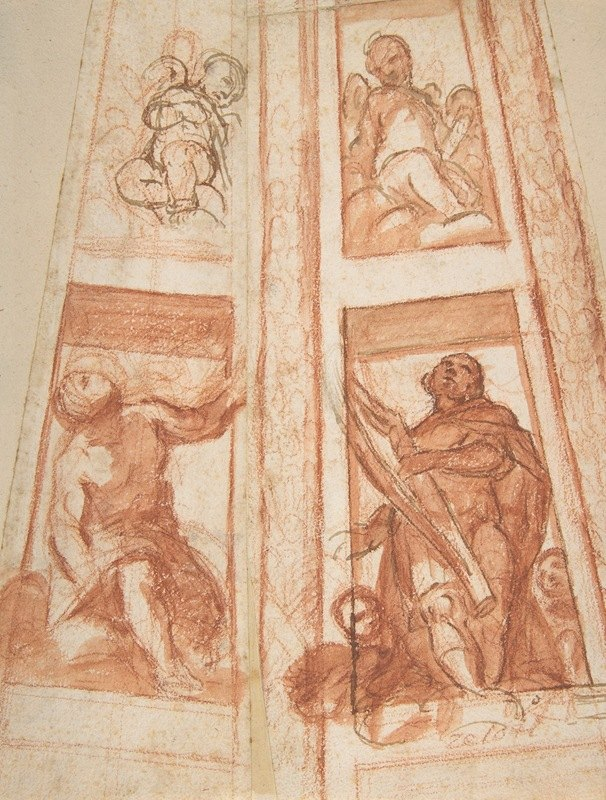 Mattia Preti - Design for the Decoration of a Cupola with a Prophet, King David and Two Putti