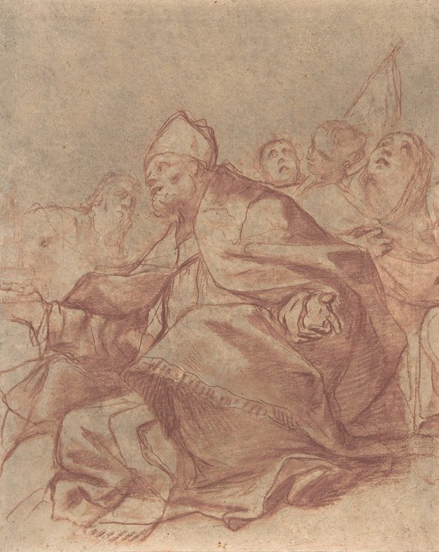 Mattia Preti - Seated Bishop with Arms Extended and Three Attendant Figures