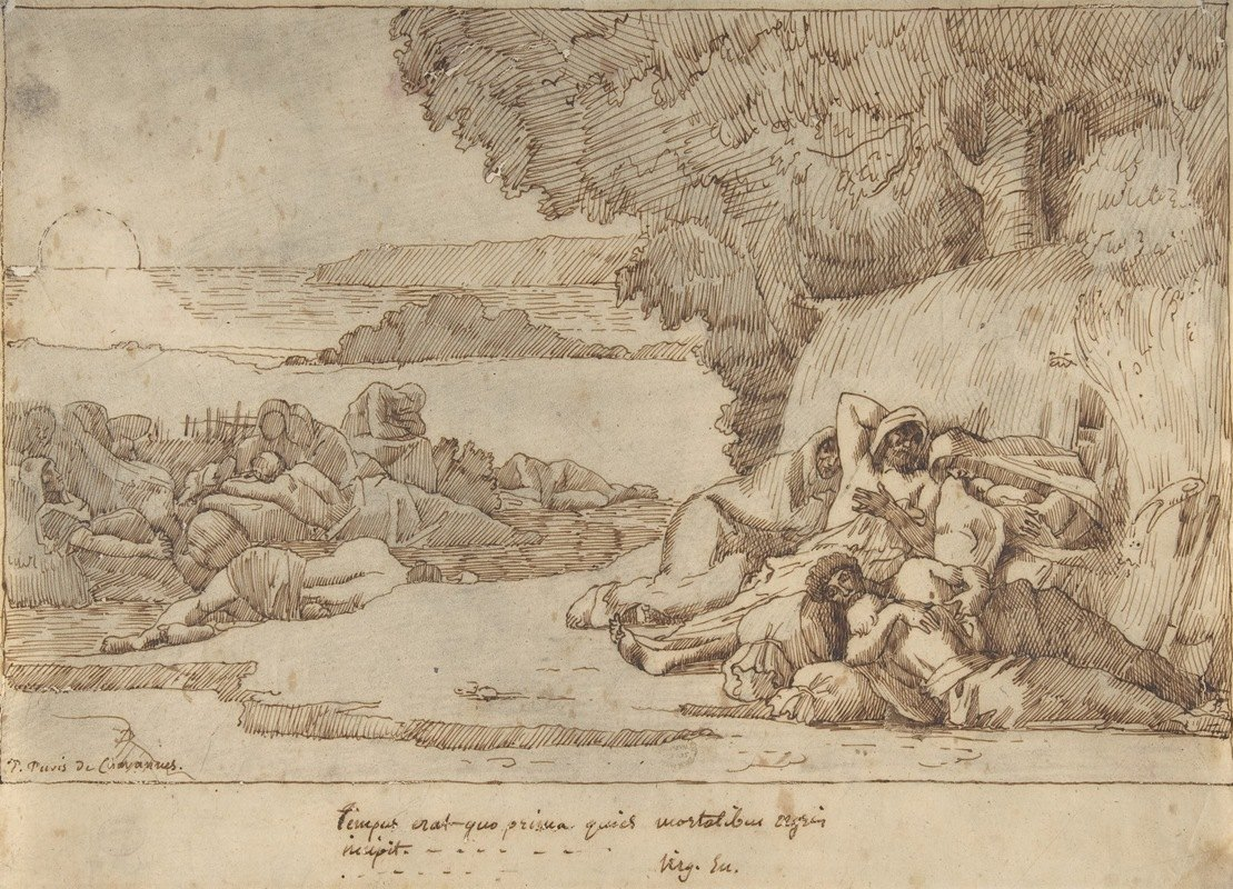 Pierre Puvis de Chavannes - Sleep; sketch for the painting, now in the museum at Lille