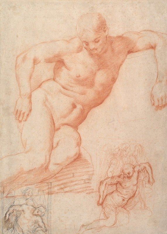 Poppi (Francesco Morandini) - Studies of the Dead Christ supported by an Angel, with subsidiary studies for the same composition