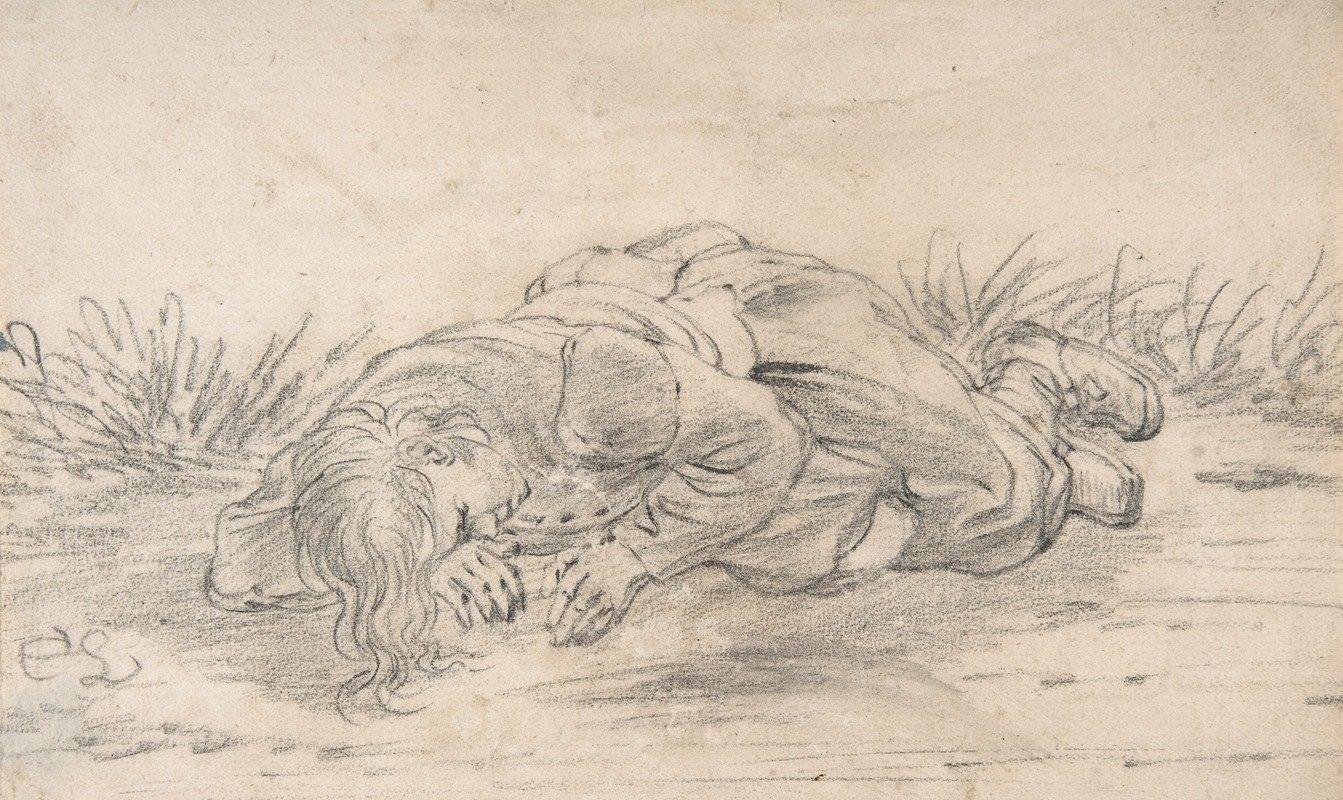 Cornelis Saftleven - A Boy Sleeping in the Outdoors