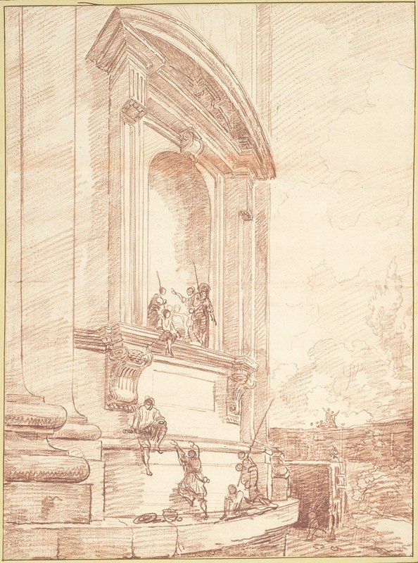 Hubert Robert - Figures in One of Michelangelo's Niches on the Apse of St. Peter's, Rome