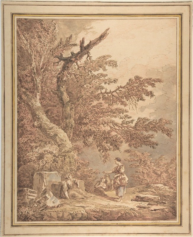 Hubert Robert - Young Women in a Landscape with Architectural Fragments