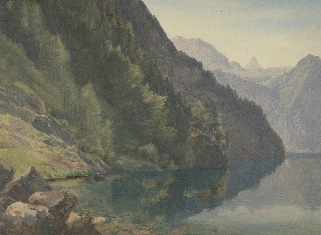 Johann Heinrich Schilbach - Wooded Shore at the King Lake (Königsee)