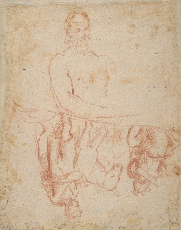 Salvator Rosa - half-length study of bearded nude male figure, and a man and woman with donkey