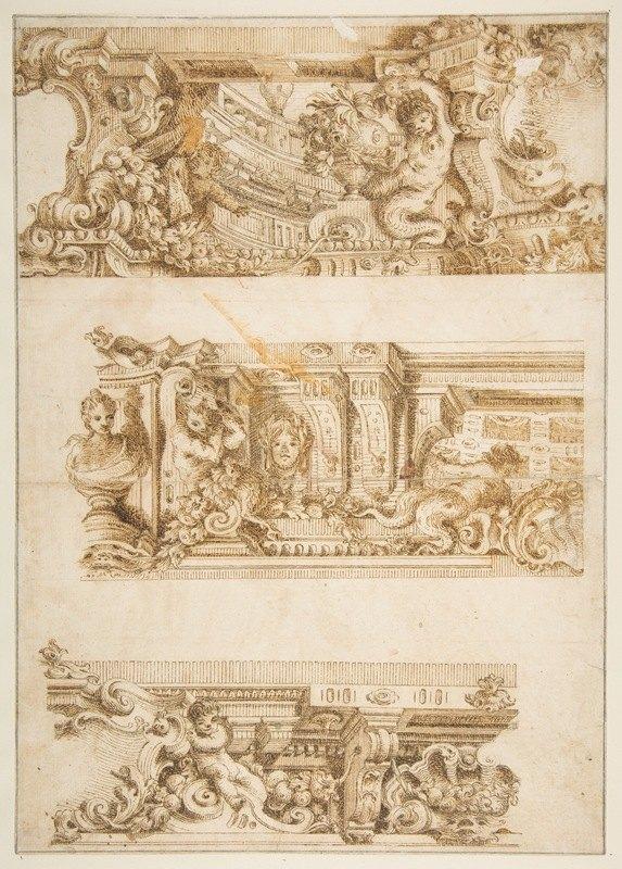 Antonio Maria Visentini - Drawing for Engraving in Raccolta di Vari Schizzi, Venice, 1747, After Angelo Rosis.