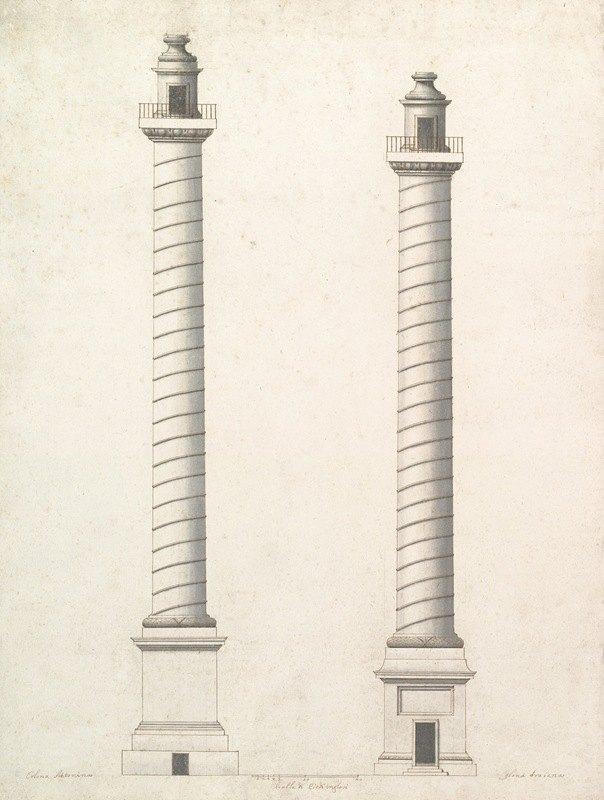 Antonio Maria Visentini - Elevation of Column of Antoninus Pius and Elevation of Column of Trajan