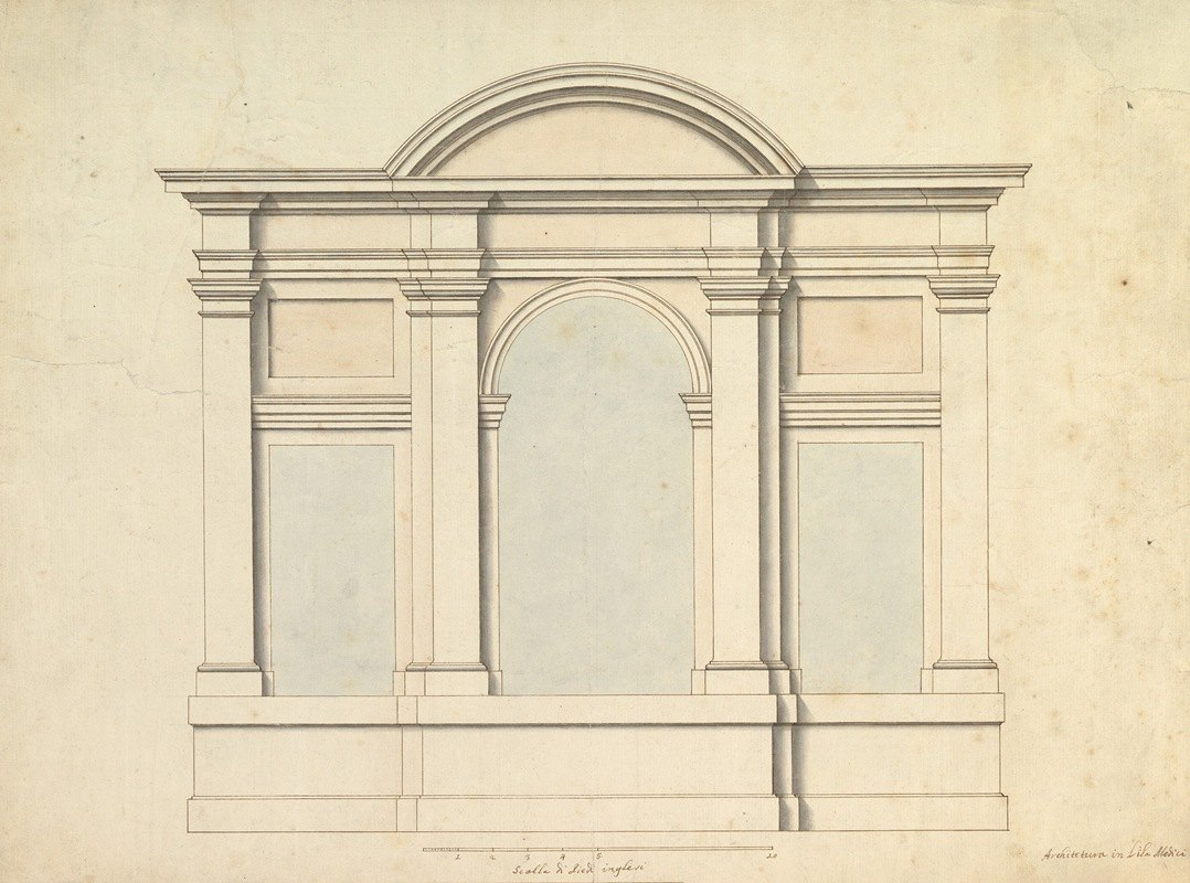 Antonio Maria Visentini - Elevation of Wall Decoration in the Villa Medici