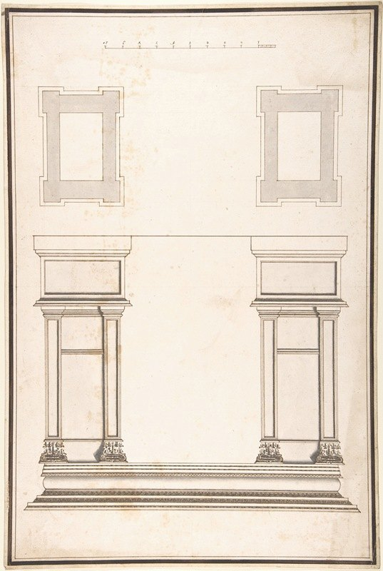 Antonio Maria Visentini - Entrance Portal; Plan and Elevation, Each Pier Consisting of Two Pilasters
