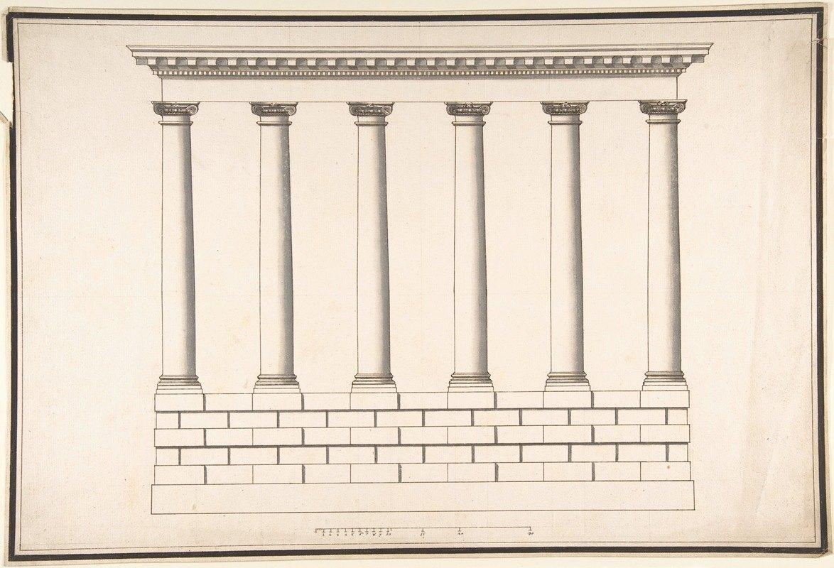Antonio Maria Visentini - Ionic Colonnade (6 Columns) on Rusticated Base