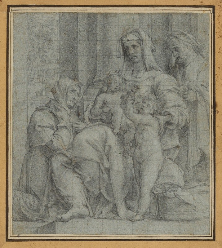 Bartolomeo Cesi - Holy Family with Saint John the Baptist Adored by an Unidentified Figure