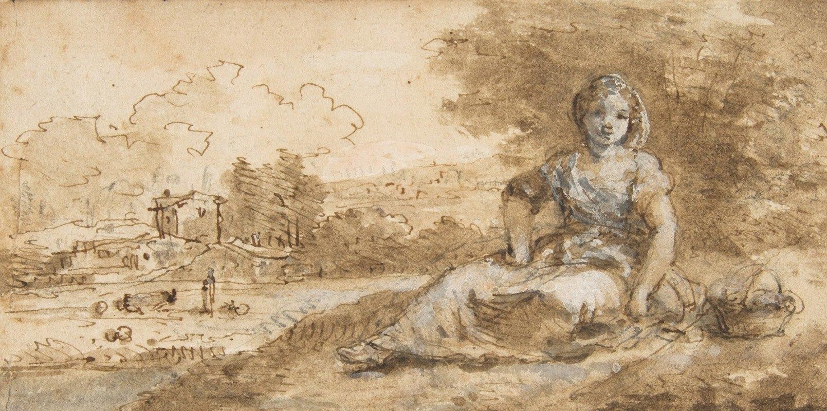 Francesco Zuccarelli - Seated Girl in a Landscape