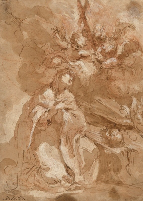 Giovanni Antonio Guardi - A Female Saint Contemplating a Crucifix