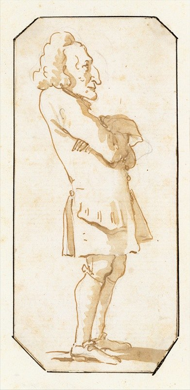 Giovanni Battista Tiepolo - Caricature of a Man with His Arms Folded, Standing in Profile to the Left