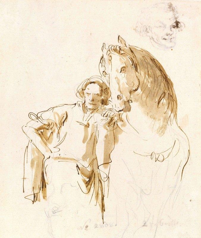 Giovanni Battista Tiepolo - Man Leaning against a Horse